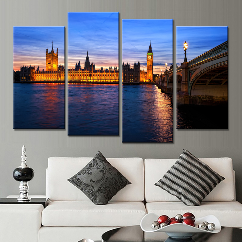 online get cheap simple landscape paintings aliexpress com drop shipping unframed 4 panels landscape painting for living room decor home decoration paintings on canvas