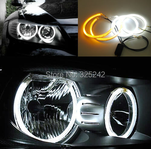 For BMW 3 Series E90 2005-2008 Halogen headlight Excellent Ultra bright Dual Color Switchback smd LED Angel Eyes Halo Rings kit for honda odyssey 4th g rb3 rb4 chassis 2008 present excellent ultrabright headlight illumination ccfl angel eyes kit halo ring