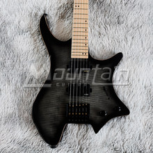 Headless guitar 6 string headless electric guitar flame maple top mahogany wood maple neck matt finish free shipping(China)