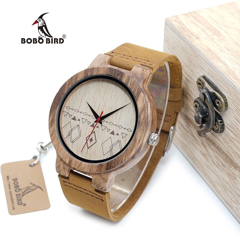 BOBO BIRD WC19 Mens Watches Zebra Wooden Watches Half Patterns Dial Face Famous Brand Quartz Watch