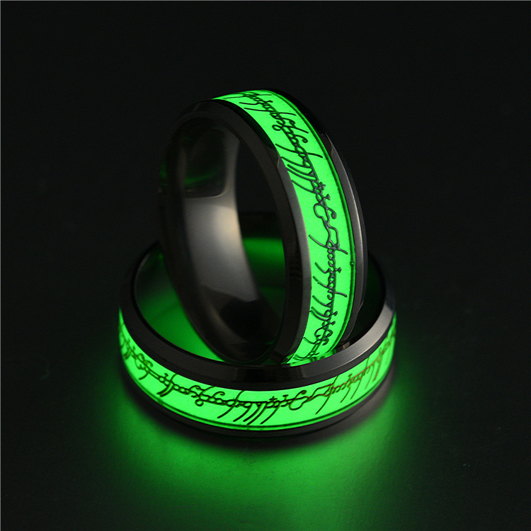 Hot Stainless Steel Ring For Lover Luminous Green And Blue Letter Ring Glow In The Dark  ...