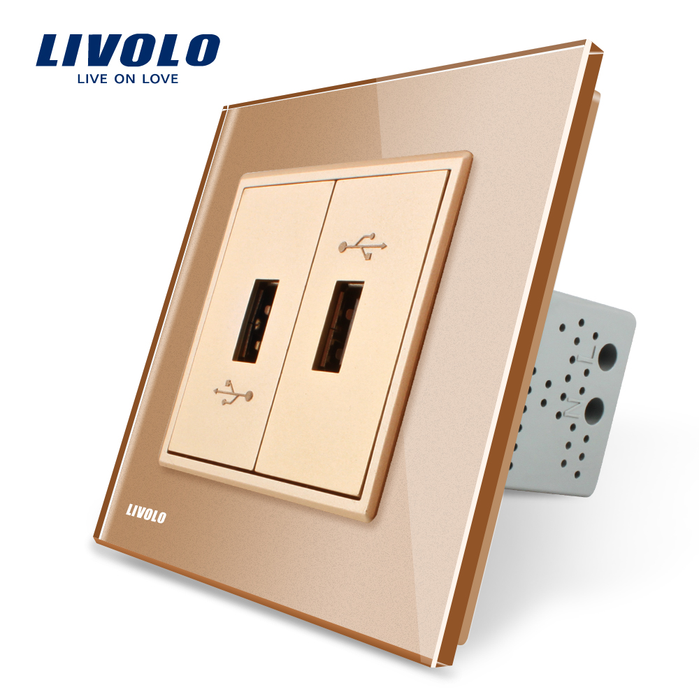 Livolo, Gold  Crystal Glass Panel, two Gang USB Plug Socket / Wall Outlet VL-C792U-13 atlantic brand double tel socket luxury wall telephone outlet acrylic crystal mirror panel electrical jack