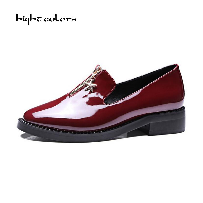 High Quality Women oxfords Flats Platform shoes Patent Leather Slip-on pointed Creeper black Brogue Loafers Brand qmn women crystal embellished natural suede brogue shoes women square toe platform oxfords shoes woman genuine leather flats