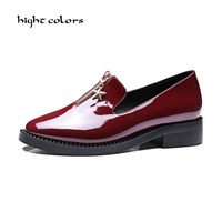 High Quality Women oxfords Flats Platform shoes Patent Leather Slip on pointed Creeper black Brogue Loafers Brand