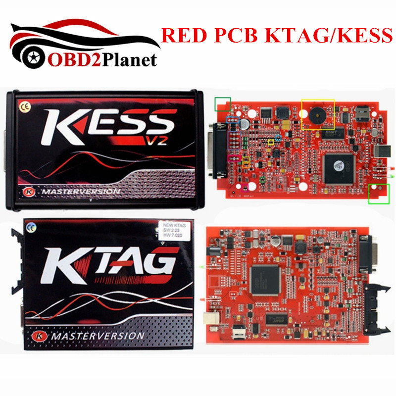 Online Version KESS V5.017 Red KESS V2 5.017 ECU Programmer KTAG V7.020 V2.23 K-TAG 7.020 EU OBD2 Manager Tuning Kit KESS 5.017 new version v2 13 ktag k tag firmware v6 070 ecu programming tool with unlimited token scanner for car diagnosis