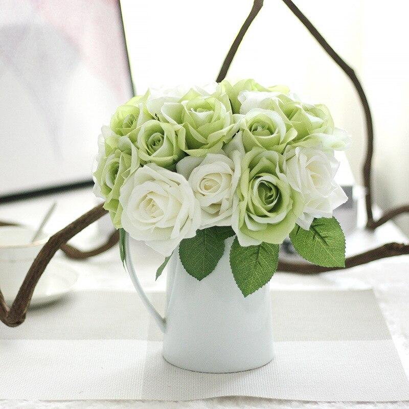 1 pušķis Mākslīgais zieds 9 galvas rožu DIY viltotas zīda zieds - Svētku piederumi