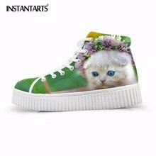 Instantarts cute PET gato impresión mujeres plataforma plana Zapatos  primavera Encaje up high Top Flat Zapatos para Niñas ocio z. 172e1ef16081