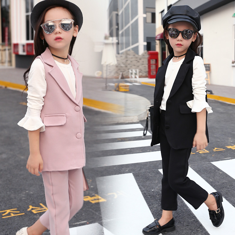 Children Girls Clothing 2017 Autumn Girls 3PCS Cotton Long Sleeve  T Shirt +Vest Coat+Long Pants Casual Suit Kids Clothes 2 2016 spring autumn cotton fashion boys clothes 3pcs children clothing sets long sleeve t shirt vest casual pants outfits b235