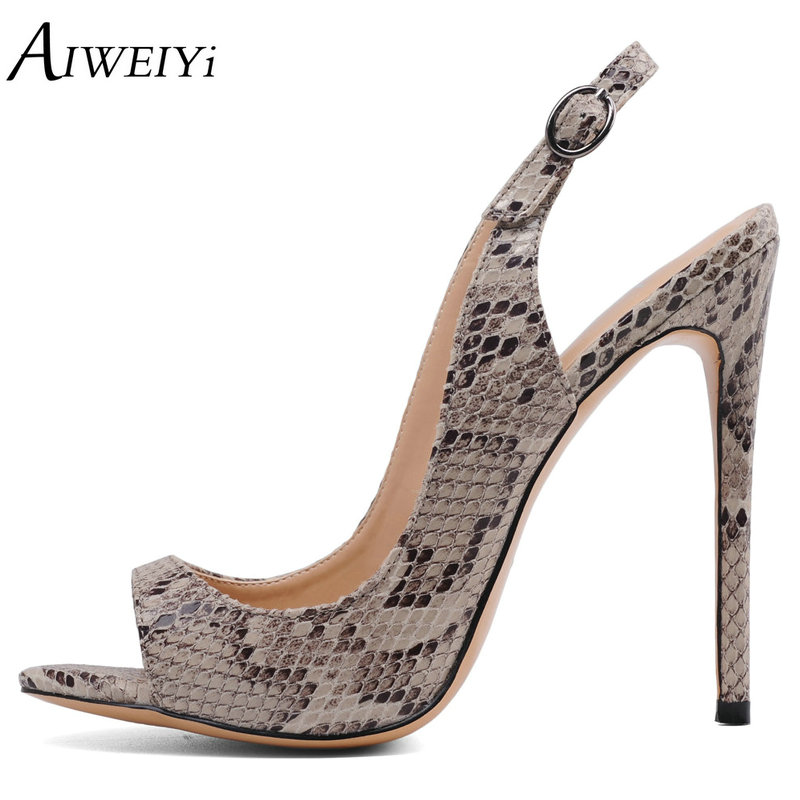 AIWEIYi Women's High Heels Sandals Snake Print Summer Platform Shoes Peep Toe Woman Party Pumps Buckle Strap Stiletto High Heels cdts 35 45 46 summer zapatos mujer peep toe sandals 15cm thin high heels flowers crystal platform sexy woman shoes wedding pumps