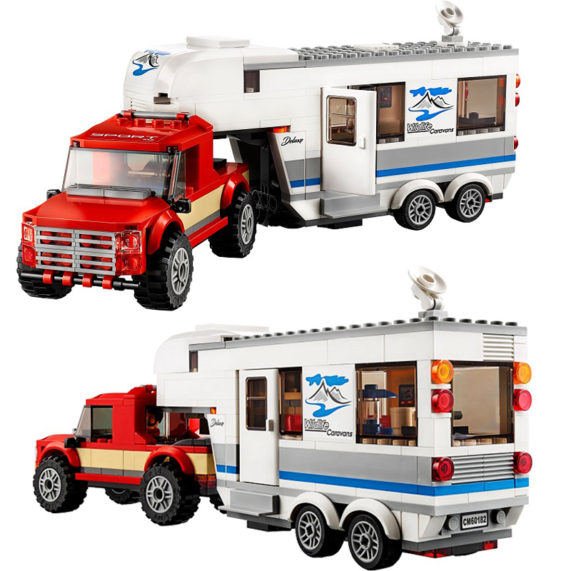 LEPIN Blocks 02093 385pcs/sets LegoINGly City Caravan Camper Building Bricks 60182 Pickup City Truck Toys ...