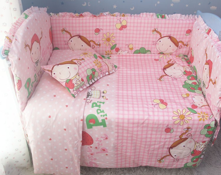 Promotion! 7pcs Baby Bedding set girls cot set Embroidery Quilt Flat Sheet (bumper+duvet ...