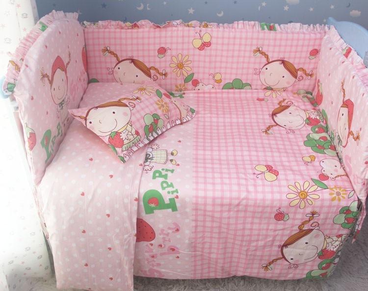 Promotion! 7pcs Baby Bedding set girls cot set Embroidery Quilt Flat Sheet (bumper+duvet+matress+pillow) promotion 7pcs cartoon baby bedding set cot set embroidered baby bumper sheet bumper sheet pillow cover duvet cover