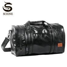 سعة كبيرة حقيبة سفر متعددة الوظائف المحمولة السفر الكتف حقائب قماش عالية الجودة الرجال حمل حقيبة بولي Leather الجلود حقيبة من القماش الخشن
