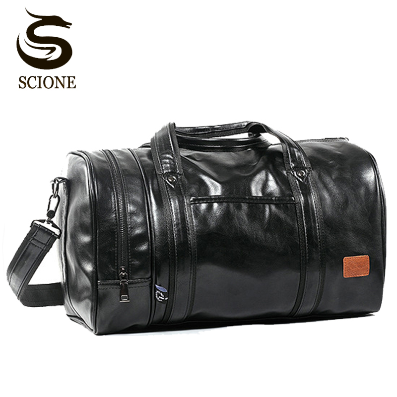 Large Capacity Travel Bag Multifunction Portable Travel Shoulder Duffle Bags High Quality Men's Tote Bag PU Leather Duffel Bag