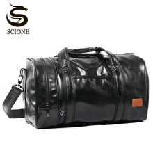 Large Capacity Travel Bag Multifunction Portable Travel Shoulder Duffle Bags High Quality Mens Tote Bag PU Leather Duffel Bag
