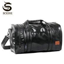 Torba podróżna o dużej pojemności wielofunkcyjna przenośna torba podróżna na ramię torba worek wysokiej jakości męska torba z grubej bawełny PU skórzany worek marynarski