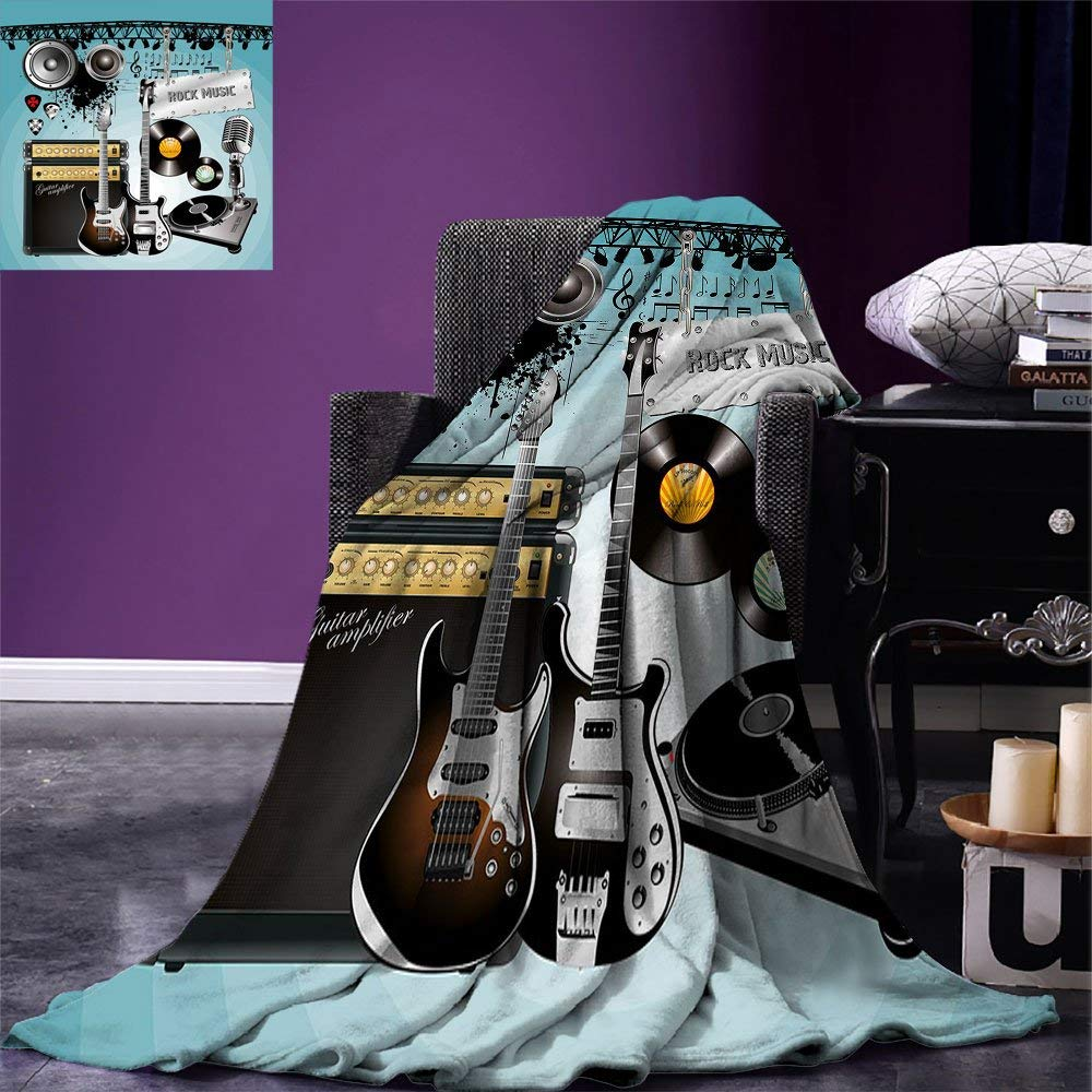 Rock Music Throw Blanket Concert Pattern Guitars and Records with Giant Speakers Ornamental Arrangement Warm Microfiber Rock Music Throw Blanket Concert Pattern Guitars and Records with Giant Speakers Ornamental Arrangement Warm Microfiber