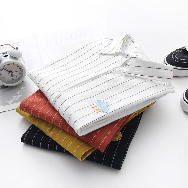 Women Cotton Shirts 2019 Spring New Striped Blouse embroidery Long Sleeve White Blouses Female Shirts Womens Blusas Feminine 6