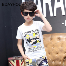FASHION_F6 Printed Short-Sleeved Round Neck Boy T-Shirts 2017 Cool Summer Youth Soft Cotton Boy T-Shirts Eight-17Years