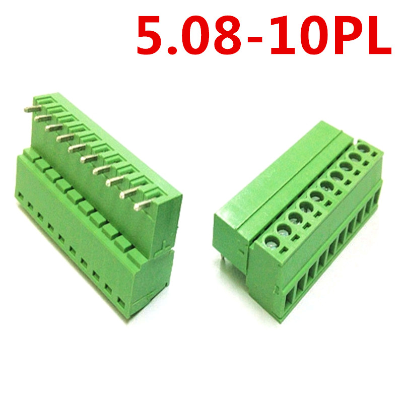 10sets 10Pin PCB Electrical 5.08mm Pitch Plug-in Type Right Angle pin Green connector screw terminal block Pin header and socket