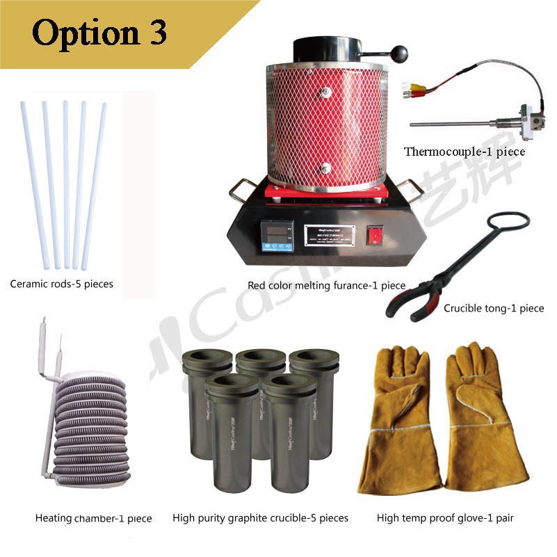 1kg Melting furnace+5 crucibles+1 crucible+5 ceramic rods+1 heating chamber+1 crucible tong + i thermocouple option3