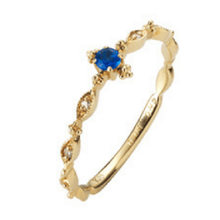 European and American Hot Sell New Inlaid Sapphire Ring Gold Zircon Engagement Finger Ring Tail Ring(China)