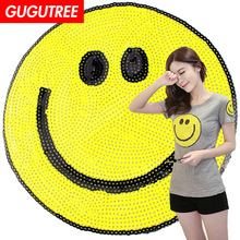 GUGUTREE embroidery Sequins big smile patches face badges applique for clothing XC-24
