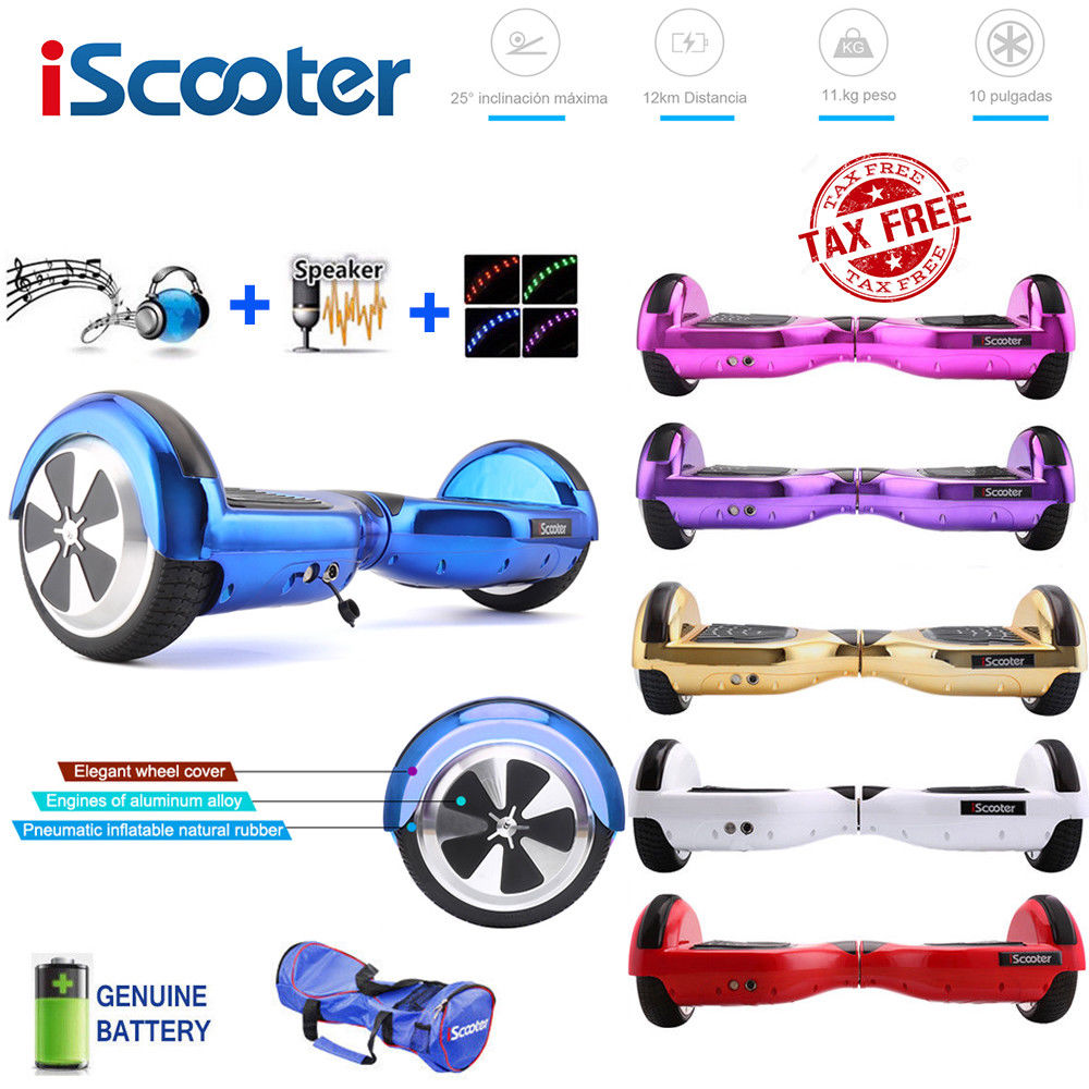 iScooter Electric Skateboard Hoverboard Self Balancing Scooter two 6.5 inch Wheel with Led Bluetooth Speaker 6.5''  hover board 10 inch electric scooter bluetooth hoverboard strong power remote control for aldut high quality hover board free shipping