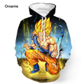 Men Women Harajuku Hoodies Pullovers Angry Goku 3D Hoodie Saiyan Sportswear Cool Anime Dragon Ball Z Pocket Hooded Sweatshirts