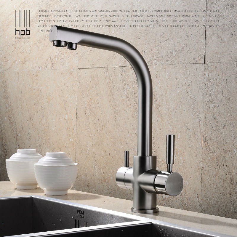 HPB Brass Chrome Brushed Polished Two Functions 2 Handle Kitchen Sink Mixer Faucet  Drinking Water Tap Swivel 360 Degree HP4302
