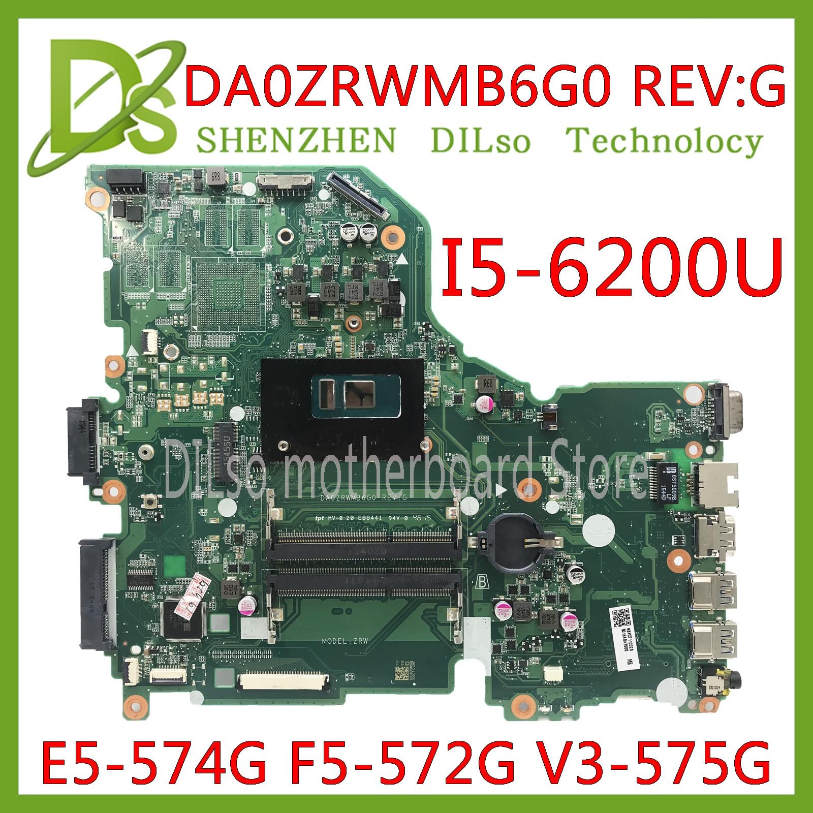 KEFU E5-574G V3-575G Motherboard mainboard Para Acer Aspire E5-574 E5-574G F5-572 V3-575 I5-6200U CPU DA0ZRWMB6G0 Teste original