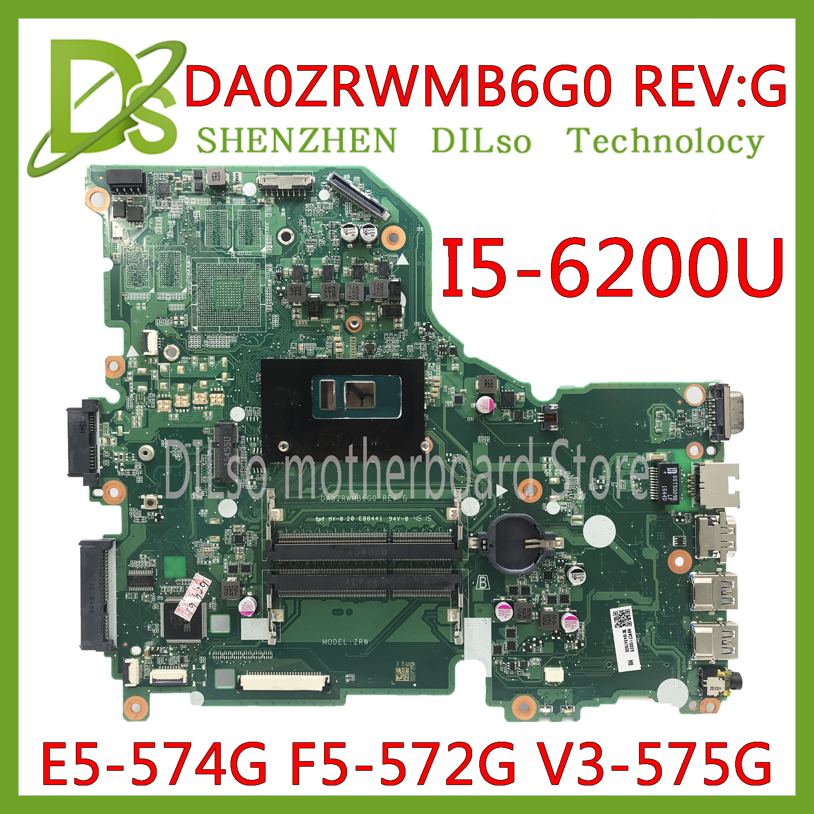 KEFU E5-574G Mainboard For Acer Aspire E5-574 E5-574G F5-572 V3-575 V3-575G Motherboard I5-6200U CPU DA0ZRWMB6G0 Test Original