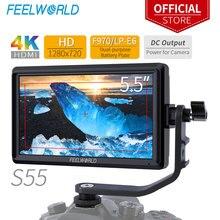 FEELWORLD Monitor DSLR S55 de 5,5 pulgadas, dispositivo de asistencia de enfoque, 1280x720, compatible con entrada HDMI 4K, salida DC, incluye brazo de inclinación