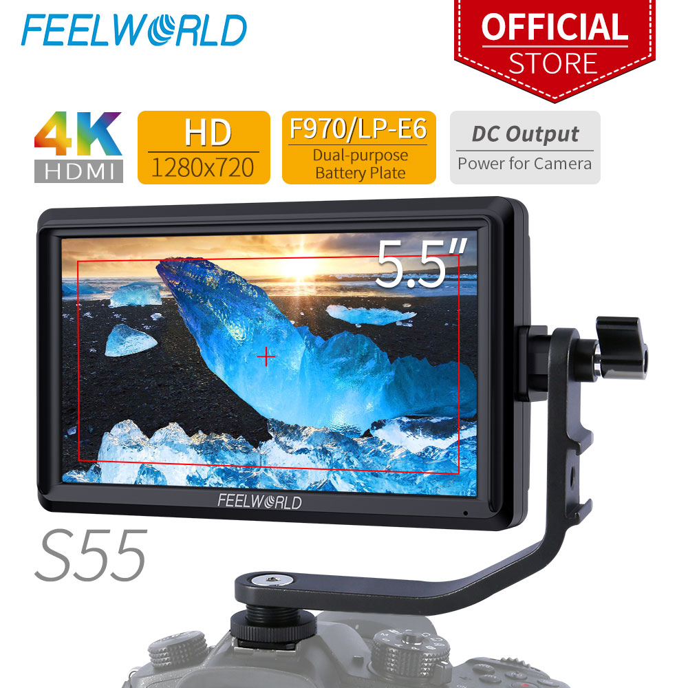 FEELWORLD S55 5 5 Inch IPS on Camera Field DSLR Monitor Focus Assist 1280x720 Support 4K HDMI Input DC Output Include Tilt Arm