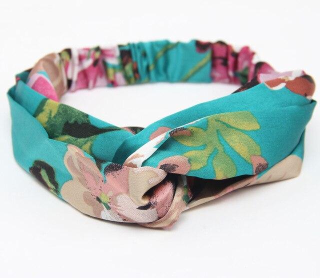 Аксессуары для волос повязки для женщин лента для новорожденных повязки на голову для девочки с цветочным рисунком Шелковый, с принтом ткань эластичная резинка для волос тюрбан с узлом - Цвет: Green