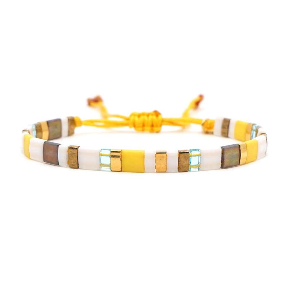 JOYE Unisex Summer Beach Rainbow Vintage bransoletki damskie koralik Boho String Charm bransoletka tkana biżuteria bransoletka męska opaska
