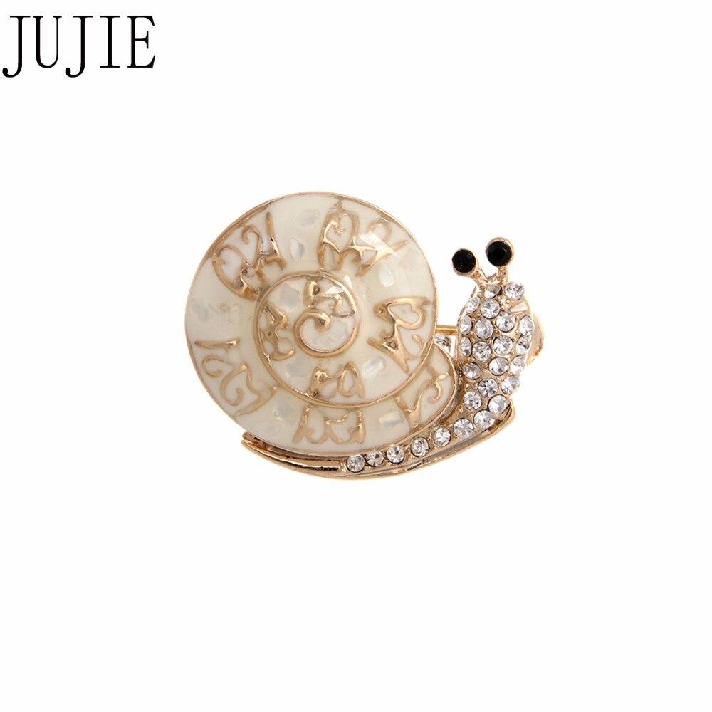 JUJIE Fashion Cartoon Snails Brooches For Women 2018 Rhinestone Animal Brooch Enamel Brilliant Snails Brooch Gold Color Jewelry
