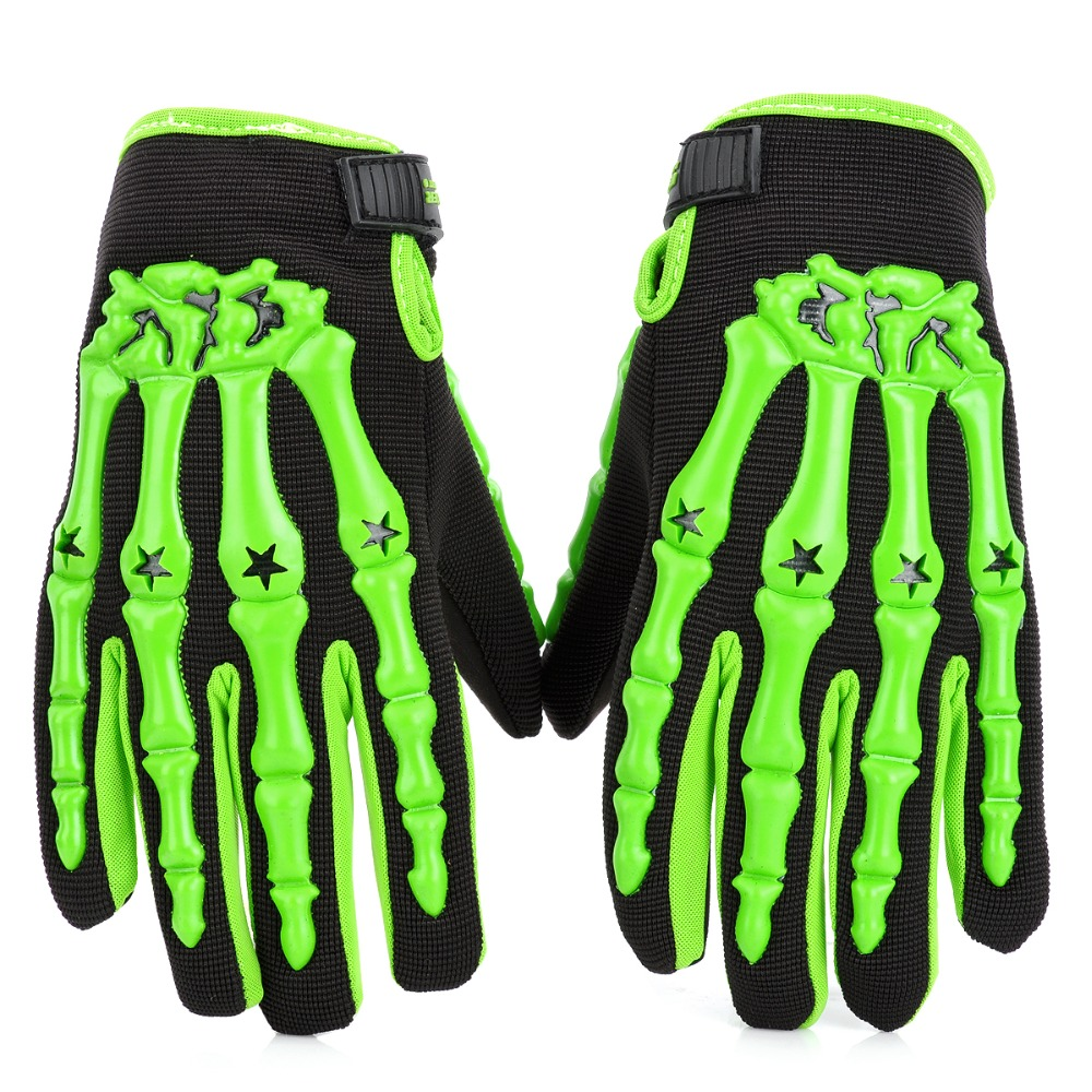 Leather motorcycle skeleton gloves - Skeleton Anti Skid Breathable Motorcycle Racing Full Finger Gloves Green Black