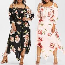 Plus Size Dress 2019 Fashion Women Off Shoulder Plus Size Lace Up Maxi Flowing Floral Print Dress