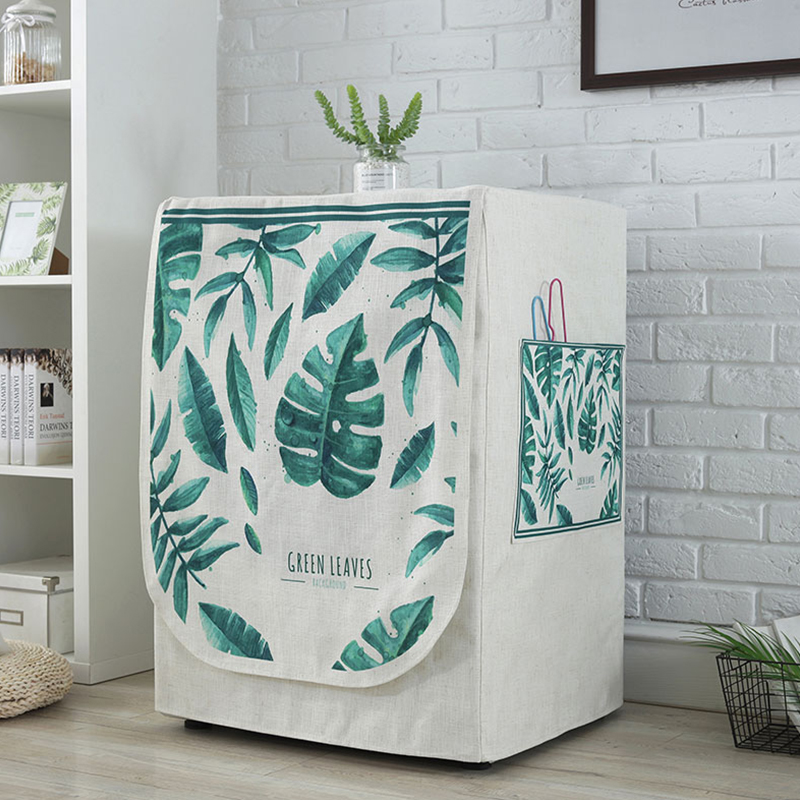 Dustproof Linen Washing Machine Covers Pockets Organizer Washer Lid Hosehold Products Protector Coat Storage Case Organization