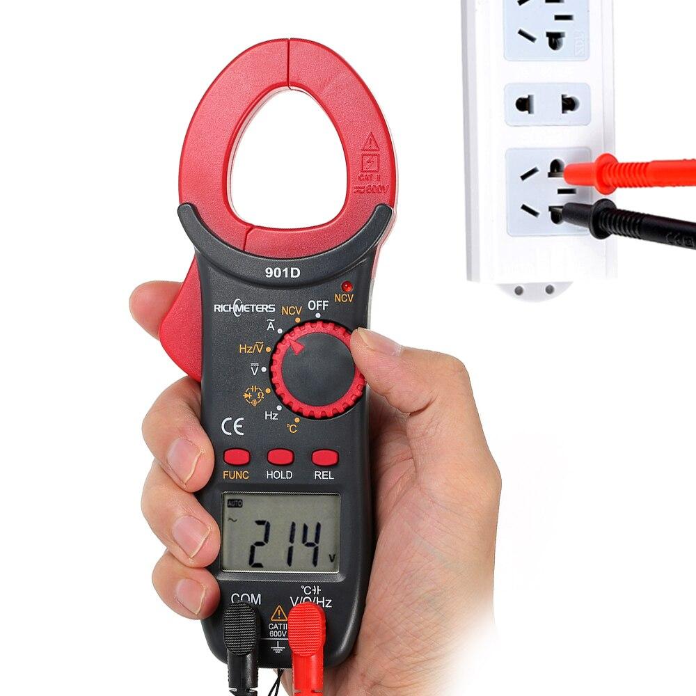 Digital Clamp Meter 4000 Conti NCV Tensione Metri Poetable Frequenza di Resistenza di Capacità del Diodo Temperatura Multimetro RM901D