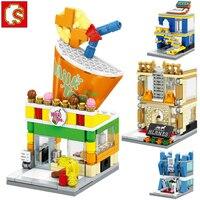 Sembo 551 stks 4 in1 Creatieve Stad Mini Street View bricks speelgoed voor kids melk thee winkel mobiele telefoon winkel fancy speelgoed voor kinderen