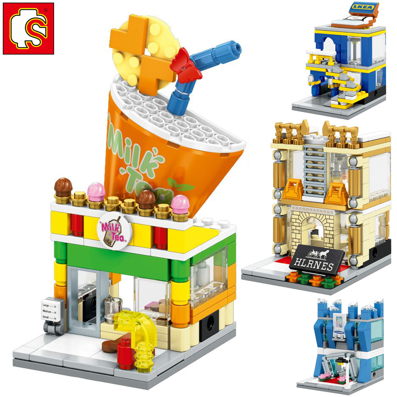 Sembo 551pcs 4 in1 Creative City Mini Street View bricks toys for kids milk tea store mobile phone shop fancy toy for children