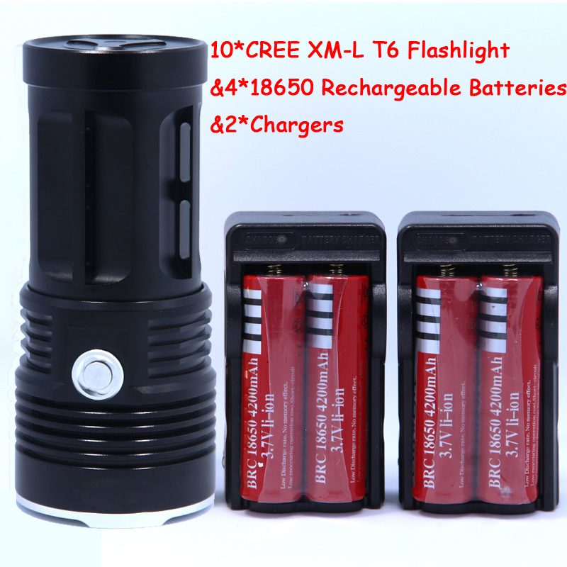 New 20000 lumens High Power 10T6 LED 10 x XM-L T6 LED Flashlight Torch Lamp Light Lantern with 4*Batteries & 2*Chargers