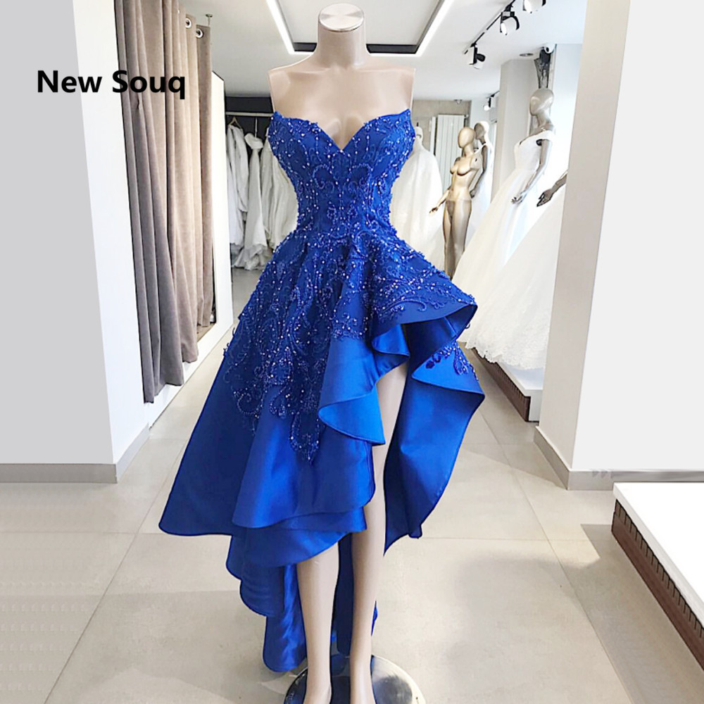 Royal Blue Satin High Low A-Line   Prom     Dresses   Applique Lace Sweetheart Backless   Prom     Dress   Middle East Party Gowns