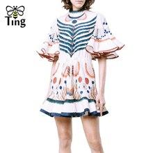 Tingfly Designer Estilo Runway Ruffles alargamento da luva floral impressão vestido Da Senhora vestido de verão mini vestidos de festa Sereia Vestidos Boho