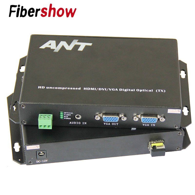 1080P VGA Fiber Optic Extender Non-compressed Video Single Mode Single Fiber 10km Transmitter Receiver Audio RS232