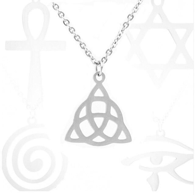 Religious Stainless Steel Necklace Triskele/Keltic Knot/Cross/Tree life/David Star/Ankh/Horus Eye/Jesus/Trident/lauburu/Hamsa