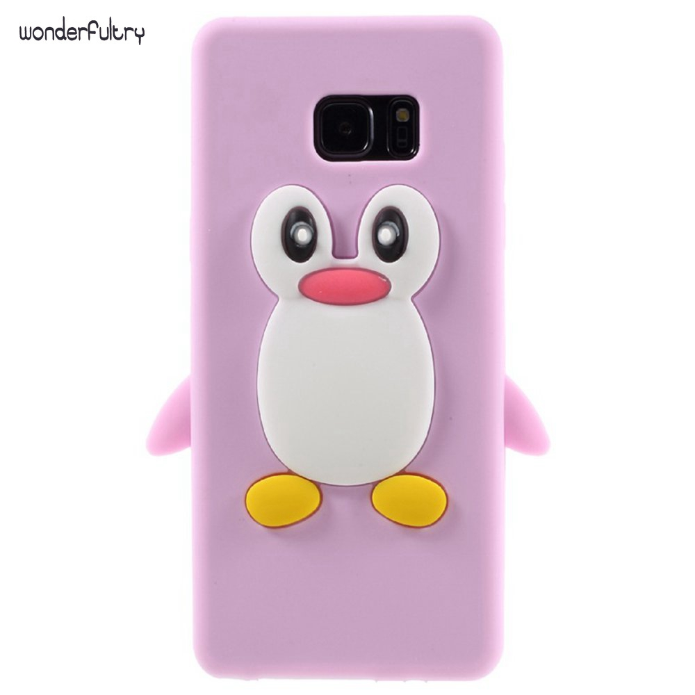 Wonderfultry For Galaxy s7 edge Phone Case Luxury Bag 3D Penguin Soft Silicone Case Cover for Samsung Galaxy s7 s6 s5 s4 s7562 ...
