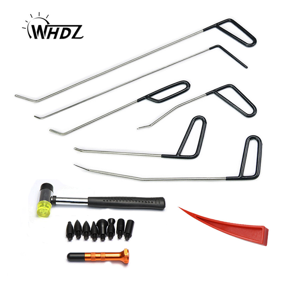 WHDZ Automotive Paintless Dent Repair Tools Kit Rubber hammer tap down pen Dent Remover PDR Hail Repair Tool Metal PDR Rods adjustable pdr repair tools set tap down 9heads rubber hammer paintless dent tool multi function rubber hammer